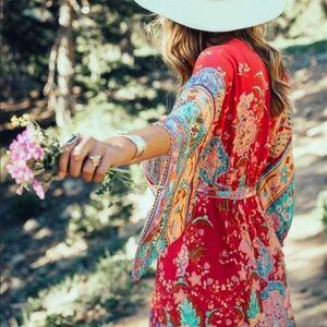 Boho Kimono Floral Print Maxi Gypsy Dress red